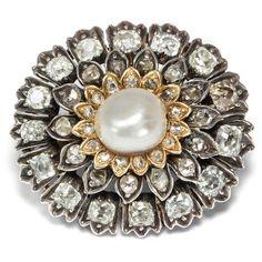 Antike Diamant & Naturperle Brosche, um 1820 / Schal Clip Spange Silber & Gold