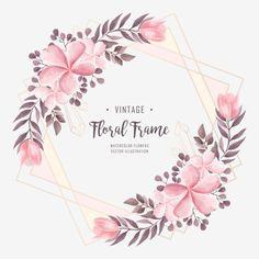 Pink Flower Bouquet, Light Pink Flowers, Frame Floral, Flower Frame, Watercolor Flower Vector, Floral Watercolor Background, Pink Flower Arrangements, Rosen Arrangements, Illustration Blume