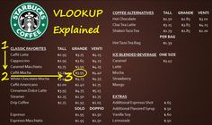 VLOOKUP Explained at Starbucks Large