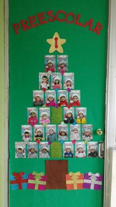 christmas classroom door decorations. Christmas Classroom Door Decoration With Children\u0027s Photos Making Up The Tree\u2026 Decorations R