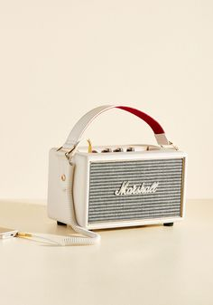 Am What I Amplify Bluetooth Speaker. Whether you're feeling upbeat, mellow, experimental, or downright jazzy, this ivory Marshall speaker projects more than just your playlists - it broadcasts your mood from its 3/4-inch dome tweeters and 4-inch woofers. #cream #modcloth