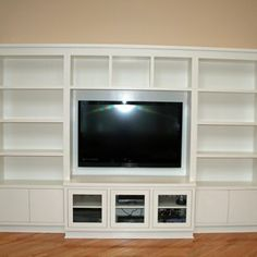 Modern Painted Entertainment Wall Unit by Two Rivers Woodworking