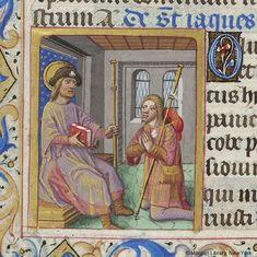 St. James with a pilgrim, a book of hours (PML M.231, fol. 198v), c. 1485-1490 (from larsdatter.com)