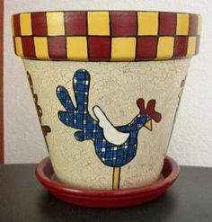 Whimsically Hand Painted Terra Cotta Flower Pot With Roosters - 1