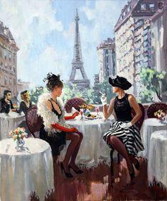 Women at Paris. Painting by Stanislav Fomenok ( Russian ). Paris Kunst, Paris Art, Paris Painting, Diy Painting, Coffee Painting, Tour Eiffel, Your Paintings, Beautiful Paintings, Renoir