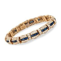 """Ross-Simons - C. 1990 Vintage 4.35 ct. t.w. Sapphire and 7.50 ct. t.w. Diamond Bracelet in 14kt Yellow Gold. 7"""" - #829376"""