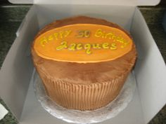 """Reese's Peanut Butter Cup cake - ?10"""" round double layer chocolate cake with a peanut butter filling frosted in chocolate buttercream and decorated in peanut butter frosting all to look like a Reese's Peanut Butter cup. Birthday cake recipients favorite candy bar! This was so fun to do!"""