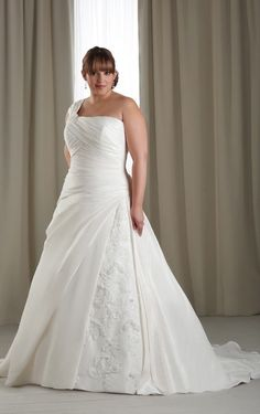 Trendy One Shoulder Satin Sleeveless Court Train ivory A-line Plus Size Wedding Dresses - Wedding Dresses