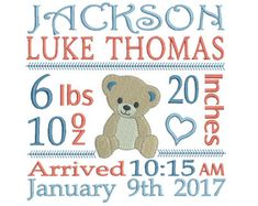 Birth Announcement Template Embroidery by RosiedayEmbroidery