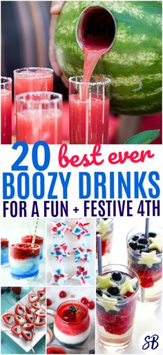 Best of July Boozy Drinks - patriotic cocktails, jello shots, and more for the best of July party ever! These Super Fun of July Boozy Drinks are sure to get your party started this holiday. Just be careful around the fireworks, and drink responsibly ♥ Fourth Of July Drinks, 4th Of July Party, July 4th Jello Shots, Patriotic Party, Alcholic Drinks, July Holidays, Party Drinks, Party Shots, Bbq Party