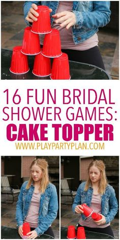 Stacking cups in various fun bridal shower games