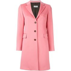 Alberto Biani Single Breasted Coat (20 255 UAH) ❤ liked on Polyvore featuring outerwear, coats, red coat, alberto biani, pink coat and single-breasted trench coats