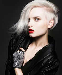 Platinum crop cut with long side swept bangs hairstyle