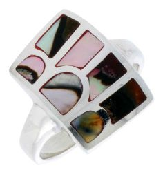"Sterling Silver Striped Rectangular Shell Ring, w/Colorful Mother of Pearl Inlay, 13/16"" (21mm) wide, size 7.5 Sabrina Silver. $30.30"