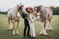 Boho Hawaii Wedding inspiration with horses in flower crowns