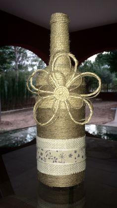 Botella decorada, wine bottle DIY, handmade, manualidades con botellas