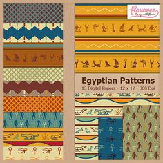 EGYPTIAN PATTERNS  Digital Scrapbooking Paper Pack  by Flavoree, $5.00