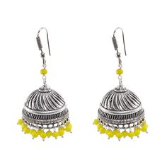 3mm Yellow Crystal Beads Traditional Jaipuri Jhumka Earrings-Large Vintage Tribal Jewelry-Silvestoo India PG-100834   https://www.amazon.co.uk/dp/B06XXKV9DT