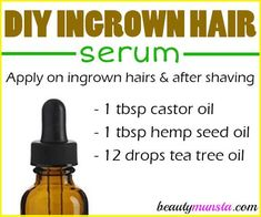 DIY Ingrown Hair Serum Recipe - beautymunsta - free natural beauty hacks and more!Try this DIY ingrown hair serum if you're constantly plagued by those pesky little ingrown hairs! Ingrown hairs can creep up on Diy Ingrown Hair Serum, Ingrown Hair Bump, Diy Hair Serum, Infected Ingrown Hair, Ingrown Hair Remedies, Diy Ingrown Hair Treatment, Ingrown Hair Removal, Protective Styles, Aloe For Hair