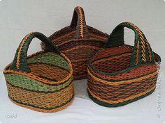 Поделка изделие Плетение Овальное дно - короба и корзины Трубочки бумажные фото 18