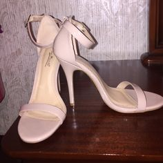 Nude Ankle Strap Heels NEVER heel. *I don't have the original box that came with the shoes* sorry. Ankle Strap Heels, Ankle Straps, Shoes Heels, Fashion Tips, Fashion Design, Fashion Trends, Comfy, Nude, Cream