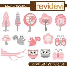 Clip art: Pink Grey Stripe Forest (owls, trees, squirrels, butterflies). Nature themed clipart.Clipart set for teachers and educators. Great resource for any school and classroom projects such as for creating bulletin board, printable, worksheet, classroom decor, craft materials, activities and games, and for more educational and fun projects.You will receive:- Each clipart saved separately in PNG format, 300 dpi with transparent background.- Each clipart saved separately in JPG format, 300…
