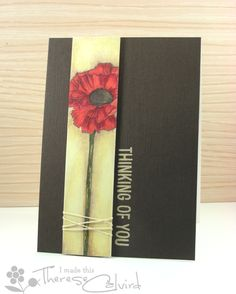 Handmade poppy thinking of you card created by Therese Calvird and also displayed on the Lily Pad blog. Very eye-catching.