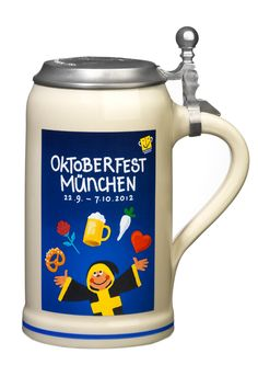 Beer stein Oktoberfeststein 2012 with lid - 1,0 liter.  Very practical in order…