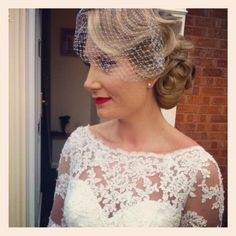 Vintage wedding hair and vintage makeup with birdcage veil. Hair and makeup by Bethany Jane Davies