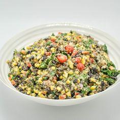 Tex Mex Quinoa Salad with a Creamy Avocado and Cilantro Dressing -  beckysbestbites