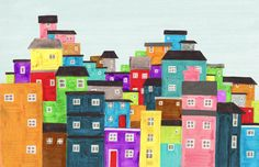 Colourful Favela Brazil, South America, Rio, Illustration