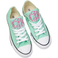 Personalized Converse Shoes ($85) ❤ liked on Polyvore featuring shoes, sneakers, monogram shoes, converse footwear and converse shoes