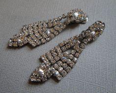 Vintage Rhinestone Earrings Long Dangle  by AlexiBlackwellBridal, $49.00