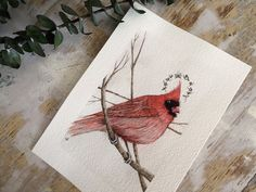 Original Watercolor Illustration Remembering June || Cardinal || Red || Seasonal || Bird Art || Animal Art || Woodland ||  by Anthropomorphics on Etsy https://www.etsy.com/listing/230165149/original-watercolor-illustration