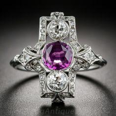 Pink Sapphire and Diamond Art Deco Dinner Ring in Platinum $5,950.00