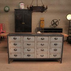 Industrial Metal Cabinet with Drawers, This would be great in a boy's room, an office or even the family room