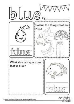 free color blue worksheet worksheets activities. Black Bedroom Furniture Sets. Home Design Ideas