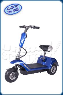 X-Treme XMB-320 Three Wheel Electric Mobility Scooter: 10 mph, up to 20 mile range. This isn't your Grandmother's mobility scooter. It's sporty, fast and fun!