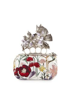 V2R0L Alexander McQueen Flower-Embroidered Knuckle Box Clutch Bag, White Multi