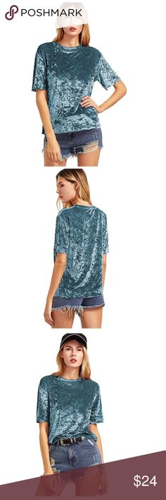 🔜Vintage Inspired Velvet Teal Casual T-Shirt Teal Vintage Inspired Velvet short sleeve T-shirt casual yet stylish and on trend Girly soft Features round neck raw hem waistline & short sleeves Nice durable weight and super soft NWOT   Please Follow Current Sale Details Expired Un-Sold SALE Listings return to Prior Listed Price  No Price Discussion in comments Please Use Offer Feature                     No Trades No Holds Tops