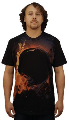 Black Hole Sun T-shirt by collisiontheory from Design By Humans. Have you ever witnessed a solar eclipse? Black Hole Sun is an abstract depiction of a solar eclipse causing cosmic radiation. The solar flairs of the sun with a swirling pattern of orange and purple. Get lost in the heat rays wearing this sun t shirt design.  for $20