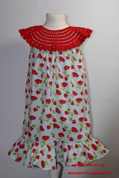 """Mädchenkleid """"Erdbeere"""" gehäkelt / genäht von MerNaMode auf DaWanda.com"""