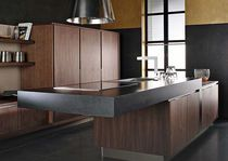 Contemporary wood veneer kitchen (with island)
