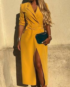 Solid Self Belted Slit Blazer Dress - Feminine dress - Damenmode Mode Outfits, Stylish Outfits, Fashion Outfits, Womens Fashion, Fashion Trends, Fashion Ideas, Ladies Fashion, Stylish Clothes, Cheap Clothes