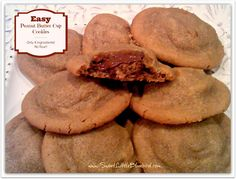 Easy Peanut Butter Cup Cookies ~ Only 4 ingredients! The dough is simple to throw together. No flour or butter! Oh so good!