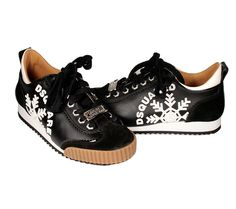 Dsquared Mens Shoes Black Leather Lace Up Sneakers (DSM06)