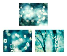 Teal Abstract Bokeh Photography Set, aqua blue turquoise sparkle photos dark sparkly circles wall pr