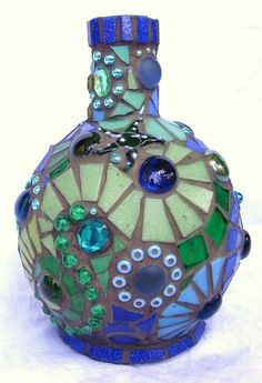 Poseidon's Bottle Mosaic mosaic bottle / vase by waschbear