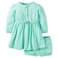 Shop a cute little dress set. Long-sleeves with cinched waist and bloomers to match! One easy outfit set.