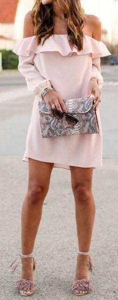 blush off the shoulder ruffle dress